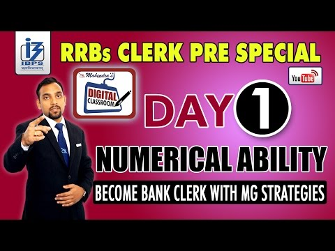 NUMERICAL ABILITY | IBPS RRBs CLERK PRE SPECIAL | DAY - 1 | #DIGITALCLASSROOM