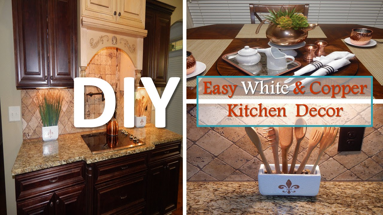 Diy easy white and copper kitchen decor with dollar tree for Home decor stuff online