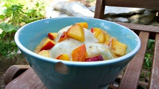 Brittany's Raw Vegan Banana Ice Cream W/ Peach Sauce