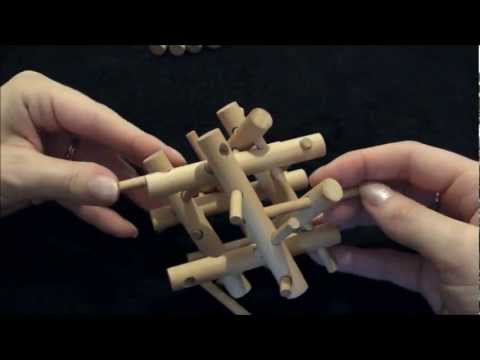 Solution & Tutorial - Wooden Brain Teaser Bamboo Puzzle (3D Pegs & Sticks)