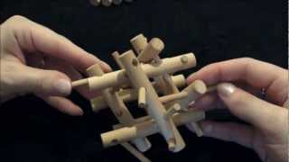 Solution & Tutorial - Wooden Brain Teaser Bamboo Puzzle (3d Pegs & Sticks)