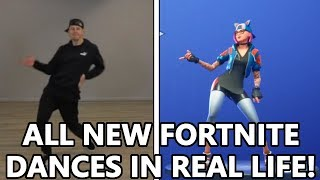 ALL *NEW* FORTNITE DANCES IN REAL LIFE! (Free Flow, Shimmer & MORE)