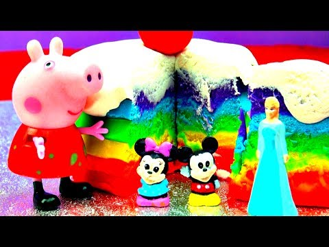 How To Make Ice Cream Play Doh Rainbow Cake Peppa Pig Frozen Anna Elsa Mickey Minnie Mou