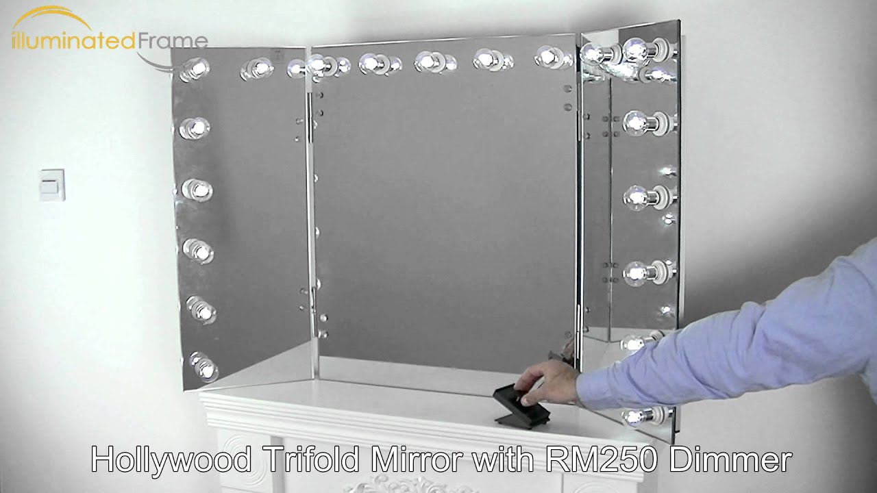 Hollywood Trifold Mirror By Illuminated Frame Inc Youtube