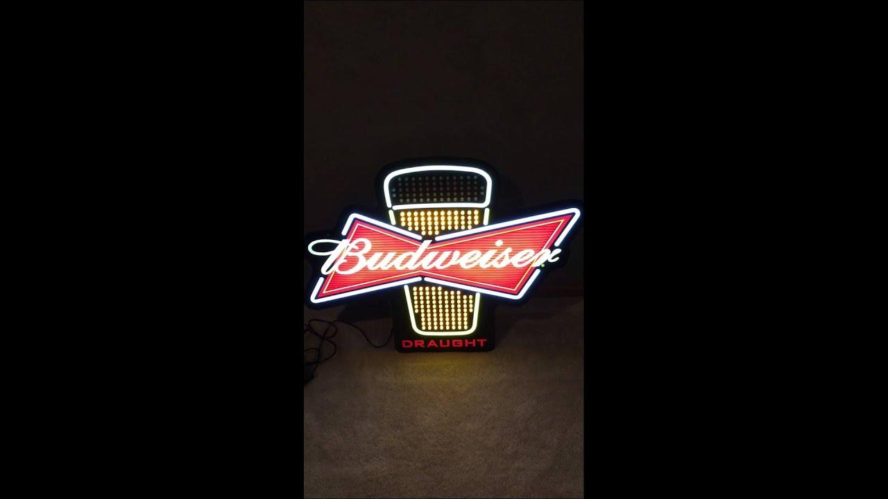 Budweiser Lighted LED Sign - YouTube