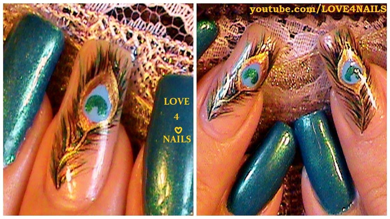 Como Pintar Plumas de Pavo Real en sus Uñas ♥ Tutorial - YouTube