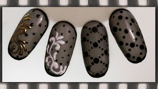 Дизайн ногтей колготки гель-лаком -  4 идеи. Маникюр черная вуаль(Идеальное ЛИТЬЕ: https://www.youtube.com/watch?v=mPwZYi_aV9s В этом видео-уроке я показываю 4 варианта дизайна в технике бархатн..., 2016-03-14T15:47:55.000Z)