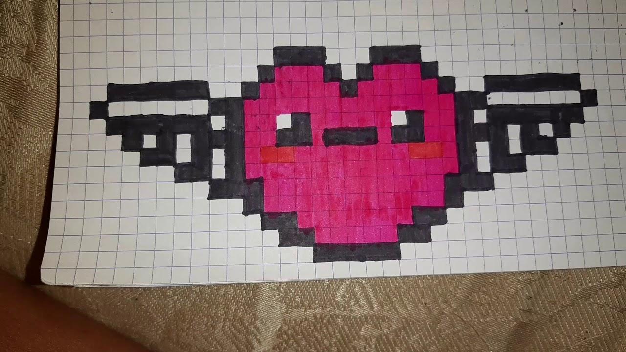 Pixel Art Coeur Avec Des Ailes