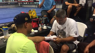 Robert Garcia and Mikey Garcia in camp