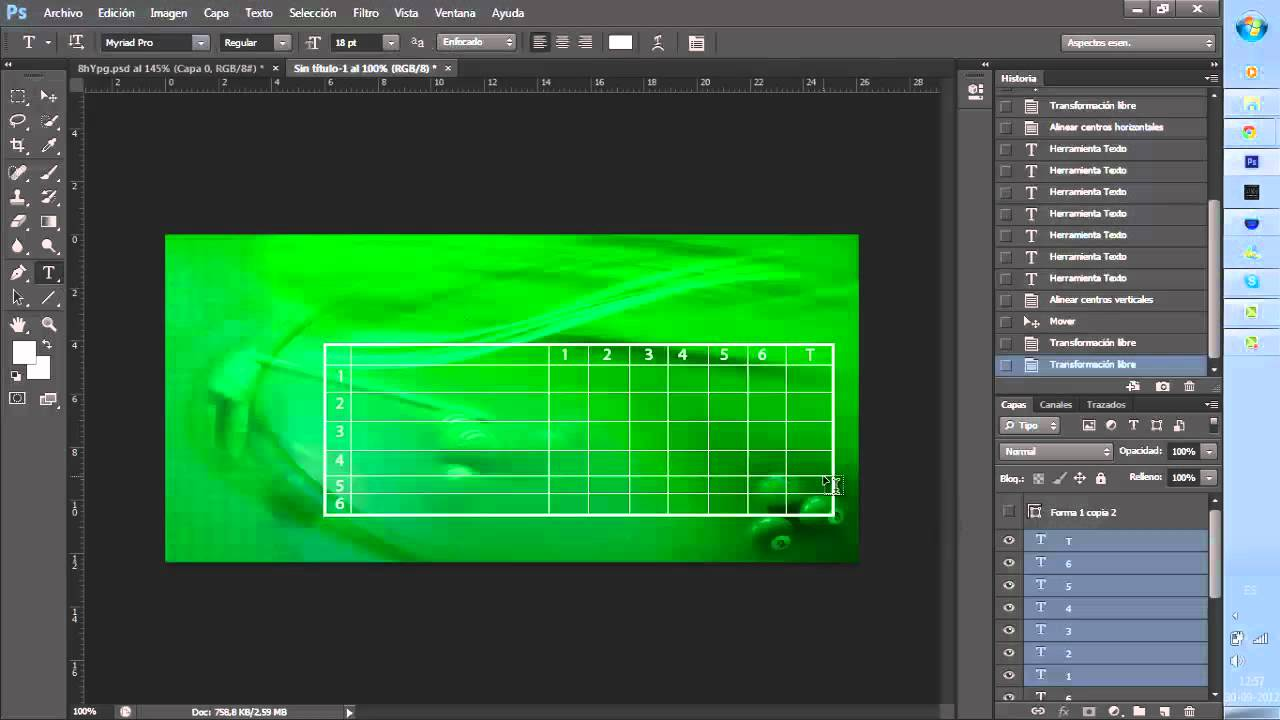 Tabla de grupos de Torneos Photoshop - YouTube