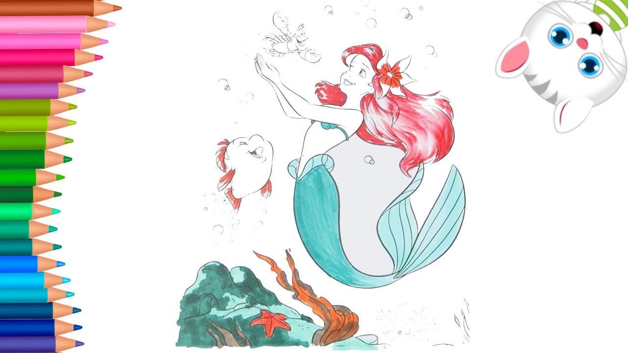 Syrenka Ksiezniczka Ariel Malych Raczek Kolorowanka Dla Dzieci
