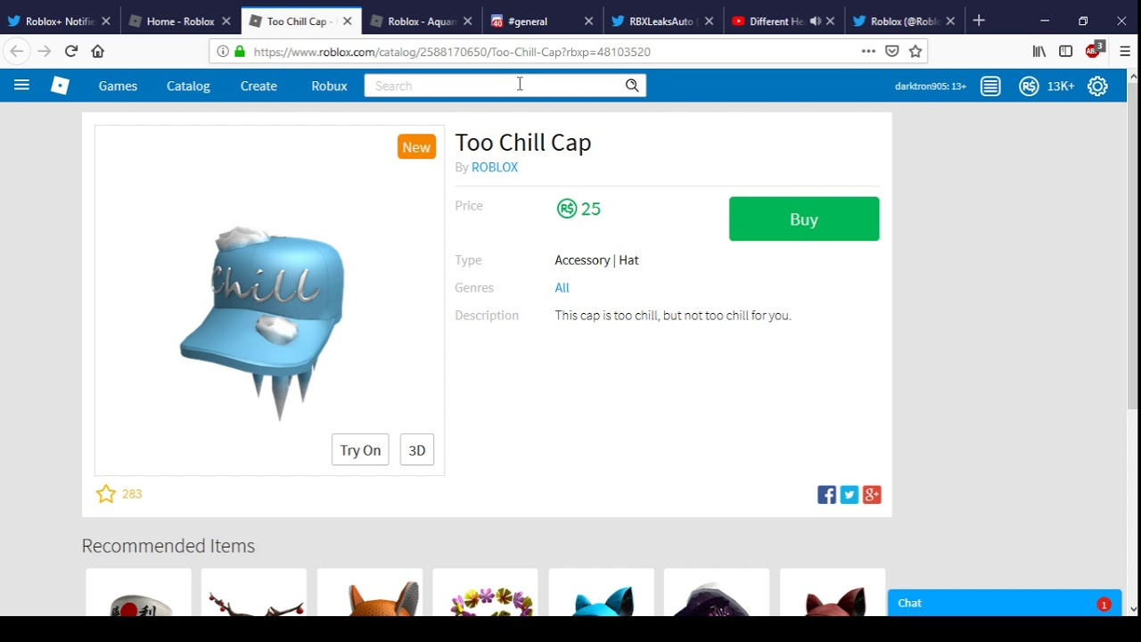 New Too Chill Cap Roblox Christmas 2018 Youtube