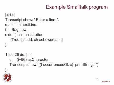 Programming Languages: Smalltalk - 1