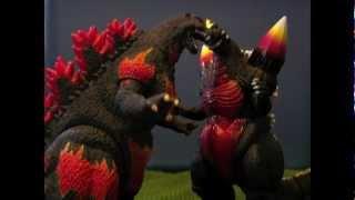 Godzilla vs SpaceGodzilla 2 - Burning Godzilla Meltdown (Stop Motion)