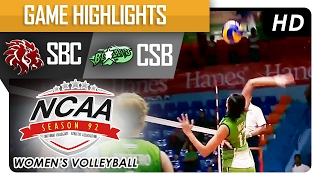 getlinkyoutube.com-CSB vs SBC | Semi Finals Game Highlights | NCAA 92 Women's Volleyball