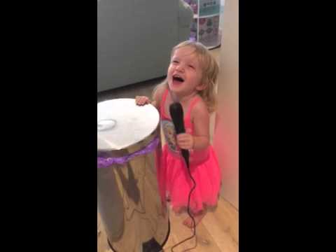 Priceless 3yr Old singing Karaoke for the first time so funny
