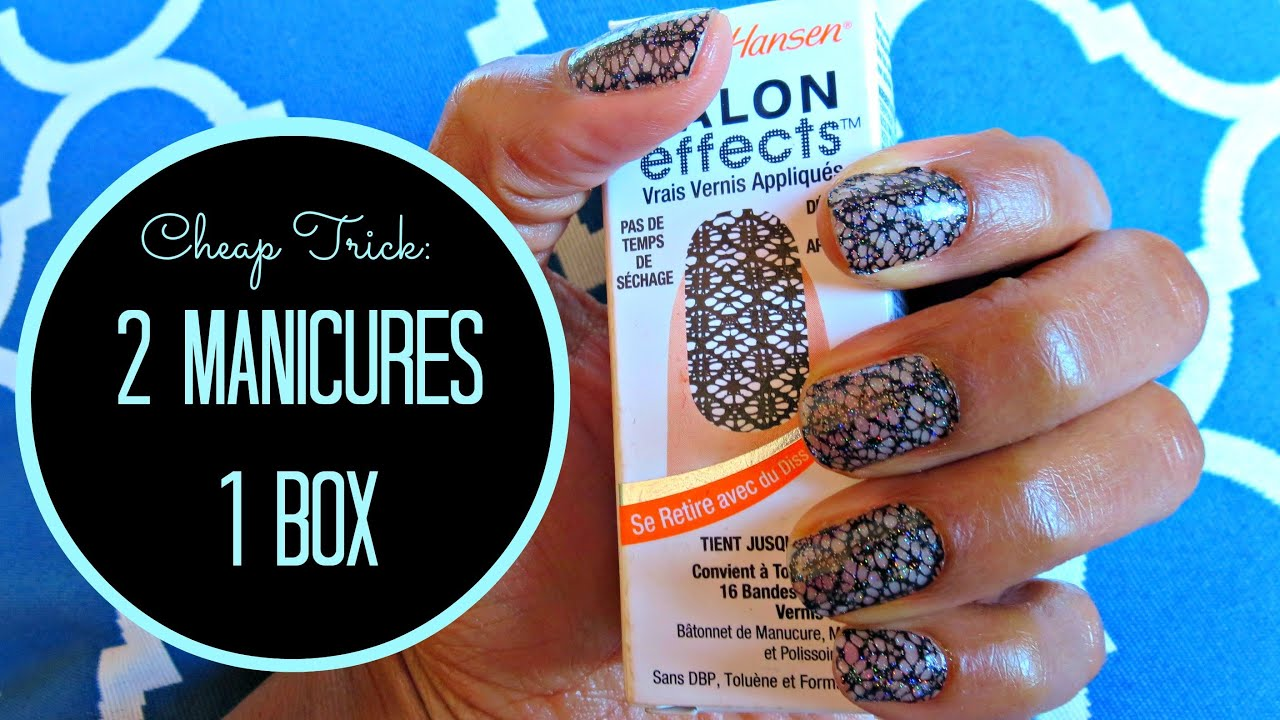 Sally Hansen Salon Effects Nail Strips 2 Manicures From 1 Box Youtube