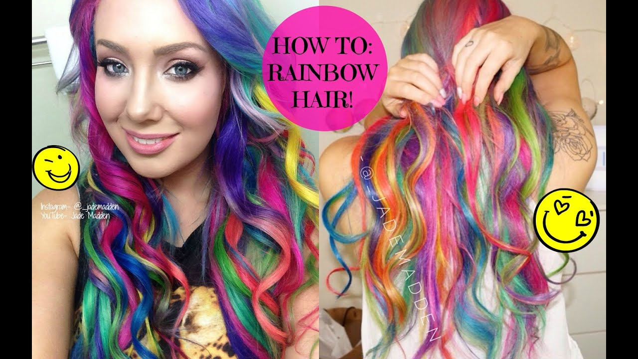 How To Rainbow Hair At Home Diy Jade Madden Youtube