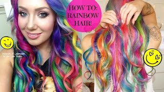 How To- RAINBOW HAIR!! AT HOME! DIY  | Jade Madden