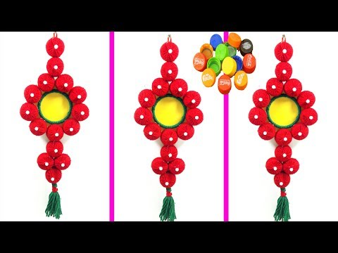 plastic bottle caps craft idea & old bangles craft  | beautiful wall hanging | best out of waste