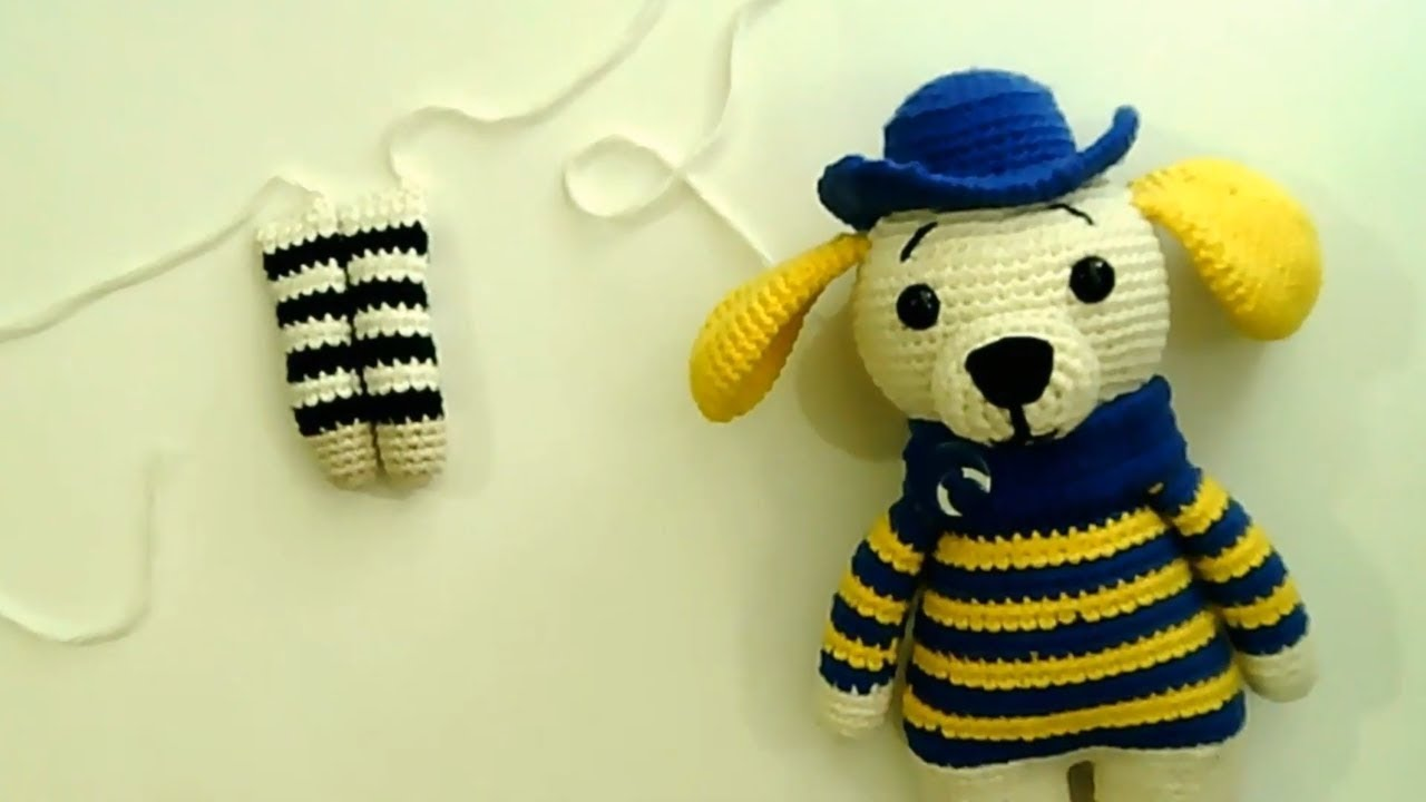 Amigurumi şapkalı köpek yapımı Amigurumi şapkalı köpek kol yapımı -02