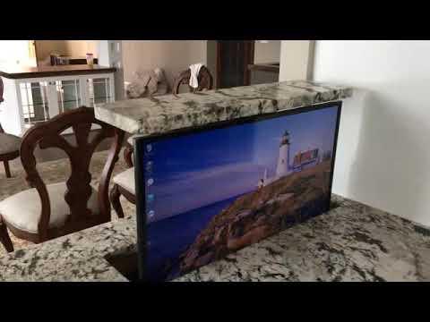 Nexus 21 Popup Tv Computer Monitor In Kitchen Island Youtube