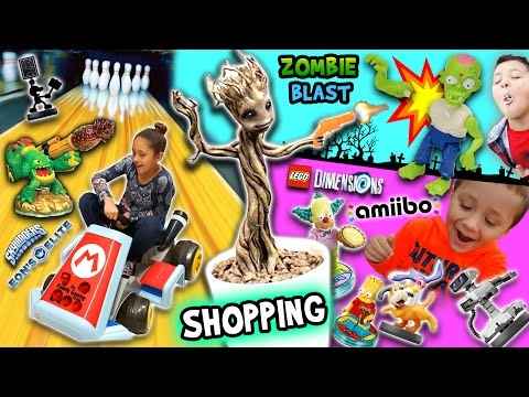 TOY HUNTING! Amiibo Bowling Challenge, Growing a Groot and Killing Zombies  (FGTEEV Shopping Vlog)