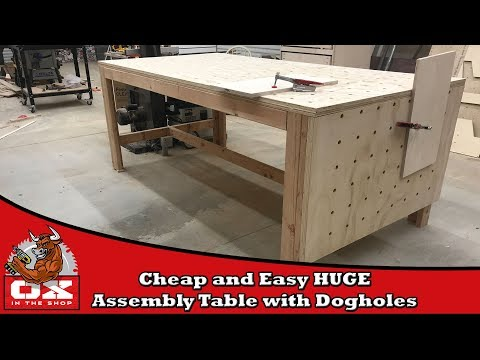 HUGE Cheap and Easy Workbench/Assembly Table with Dog holes