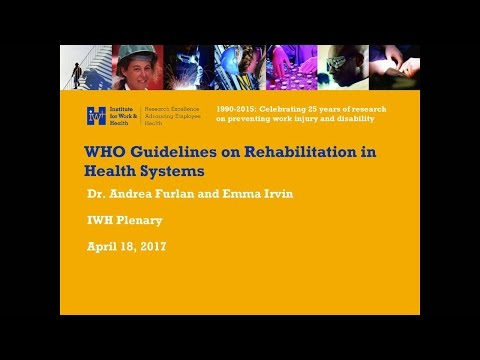 New World Health Organization (WHO) guidelines on rehabilitation in health systems (Apr 18, 2017)