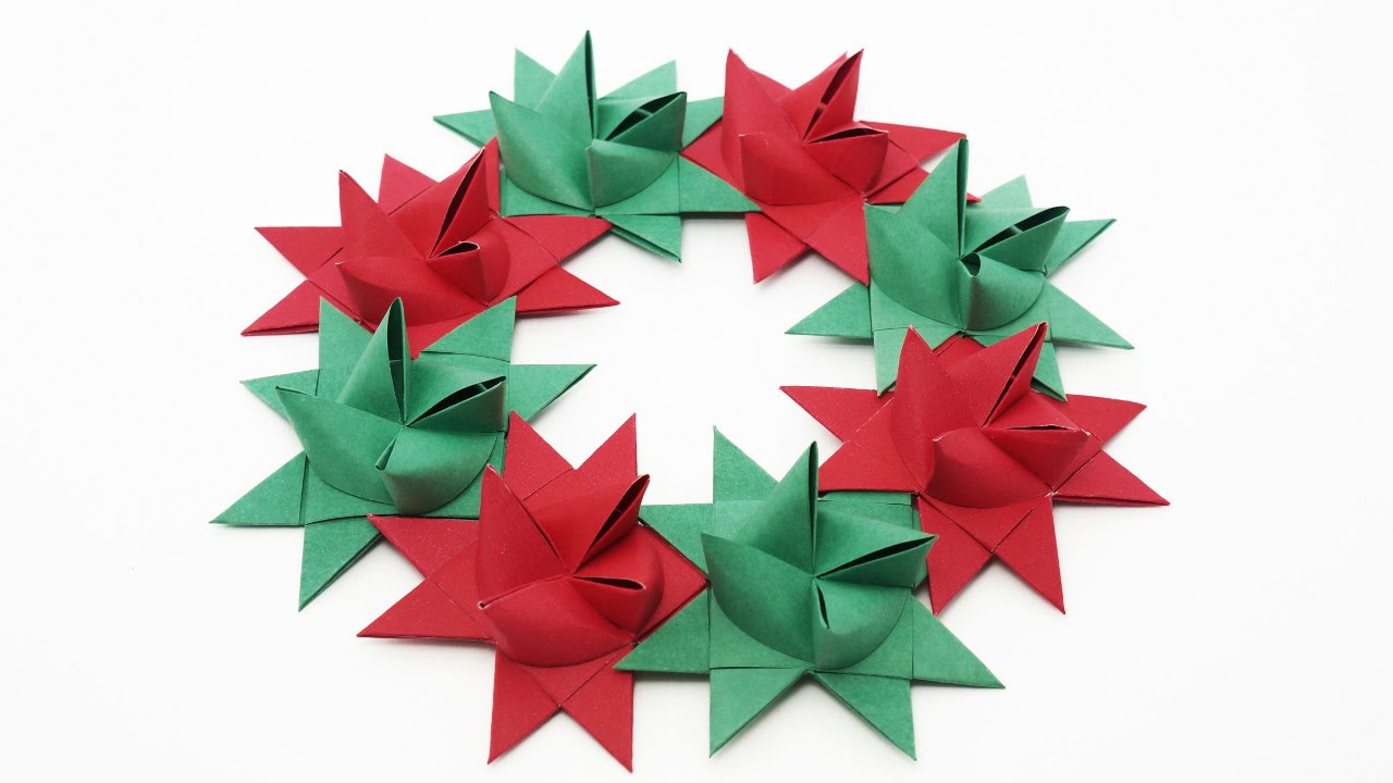 Origami Froebel Star Wreath (traditional) - Christmas - YouTube