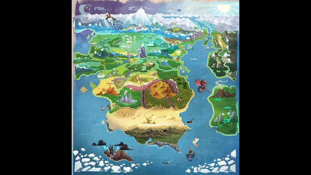 Mlp Equestria Map Spoilers) New Map of Equestria Shows Movie Locations!   YouTube