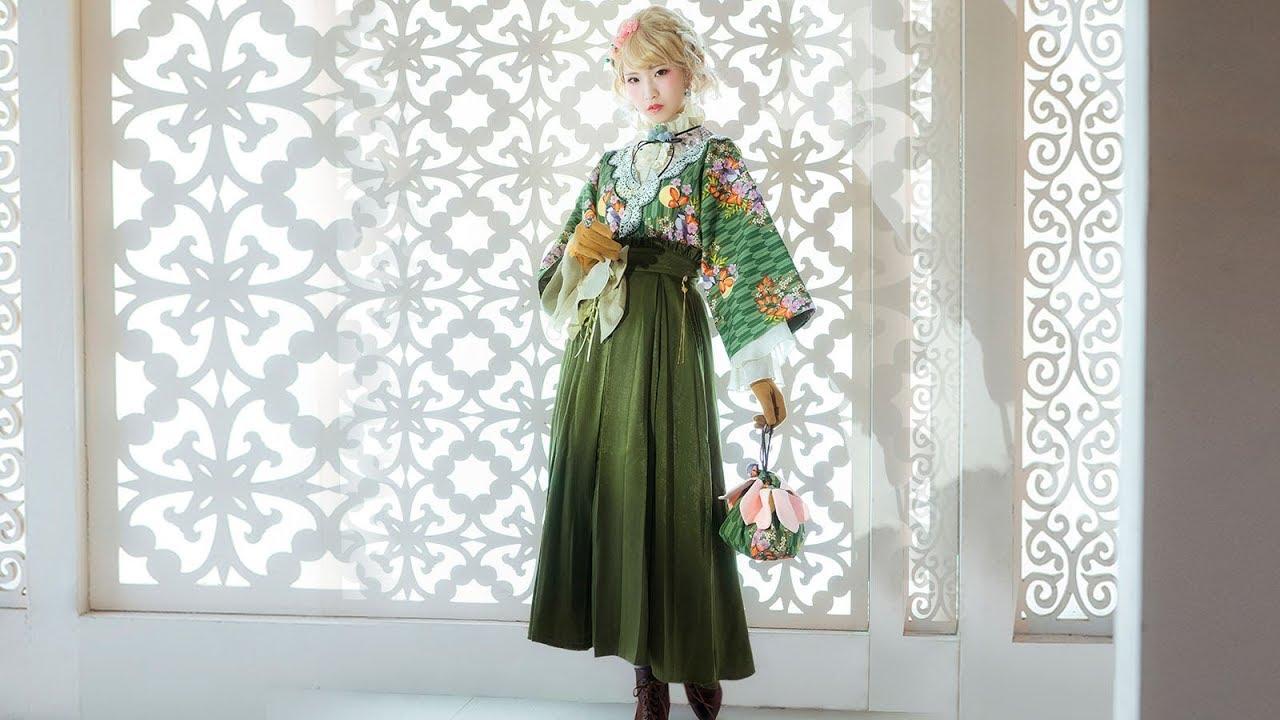313960cee8 Japanese Style Fashion Maxi Skirt Taishō Period Style Green Pleated Skirt