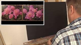 Пионы на чёрном грунте. Flowers on a black ground. Oil painting Как написать пионы. Живопись маслом.