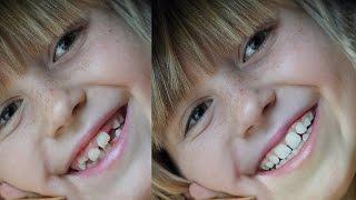 Как сделать зубы в Фотошопе ровными