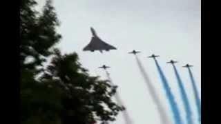 Concorde and the Red Arrows perform Buckingham Palace for the Queen's Golden Jubilee in 20