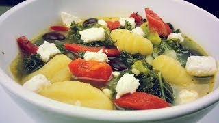 Pumpkin Gnocchi Kale Soup Recipe   August Cooking   Vegetarian Recipe   Easy Homemade Soup