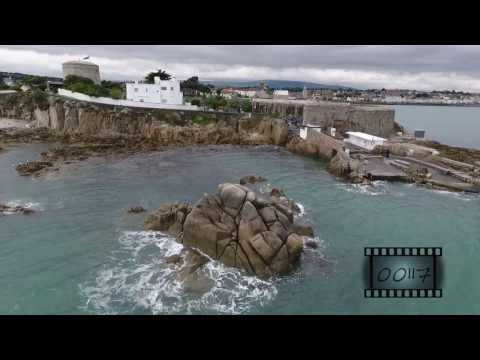 Sandycove and Dun Laoghaire Aerial stock footage.