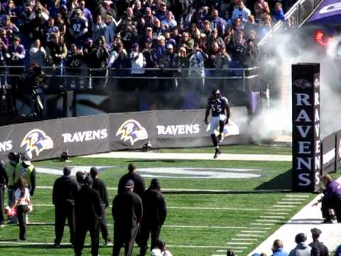 Ray Lewis Terrell Suggs Haloti Ngata and Ed Reed comming out of the tunnel.MOV
