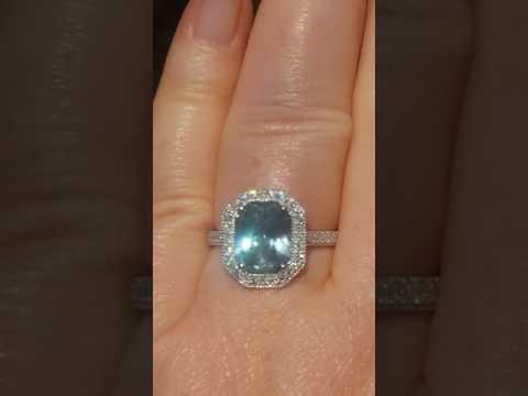 GIA Certified Untreated Precision-Cut Aqua-Blue Sapphire Diamond Halo Engagement Ring