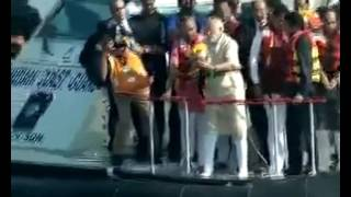 PM Modi performs Jal Pujan for Chhatrapati Shivaji Maharaj Memorial in Arabian Sea
