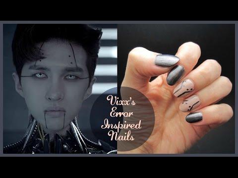 Kpop nail art vixx error inspired nails youtube
