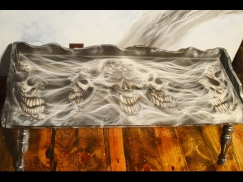 airbrushing the skull coffee table! - youtube