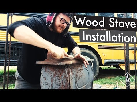 Wood Stove Installation Part 1| Skoolie Bus Conversion Tiny House Videos