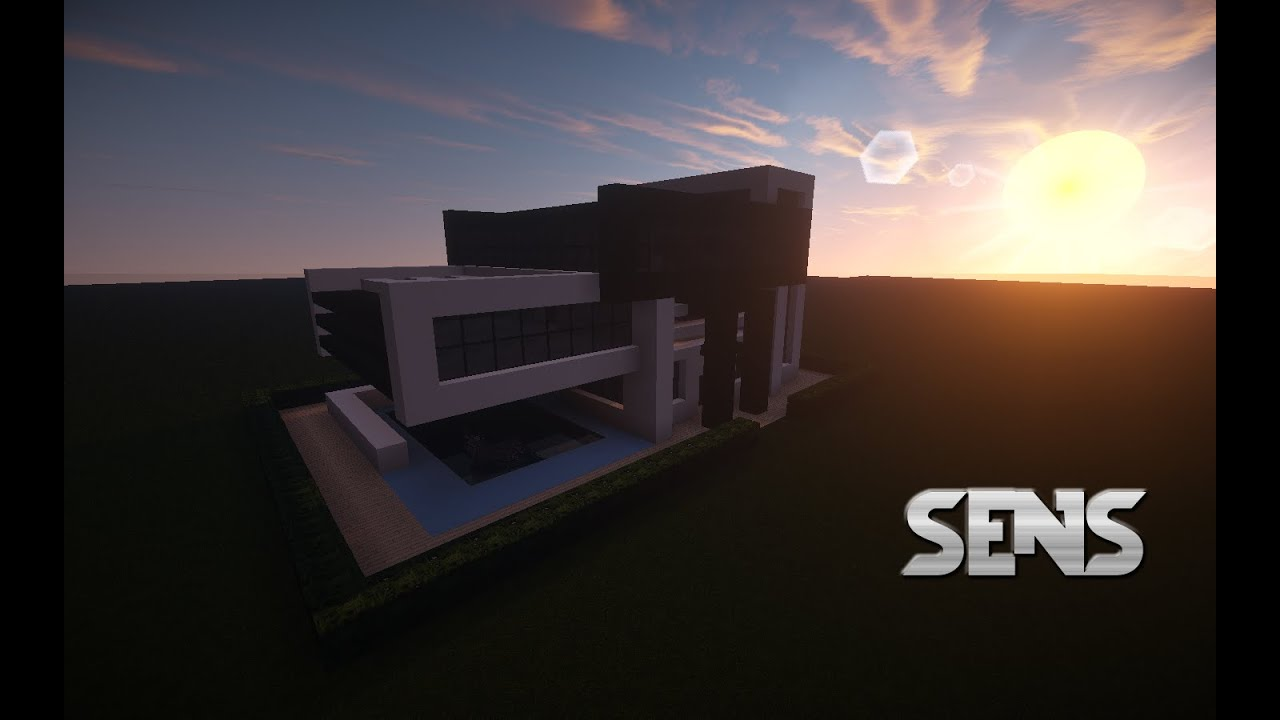 Easy and simple minecraft modern house 2 colors black and white wood and a swimming pool