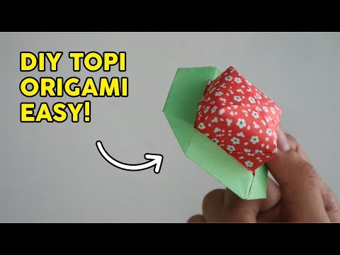 CARA MEMBUAT TOPI ORIGAMI MUDAH   How to fold STRAW HAT paper easy