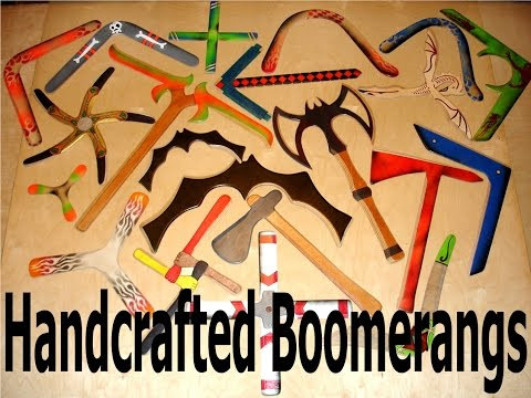 Boomerangs of many shapes and sizes.