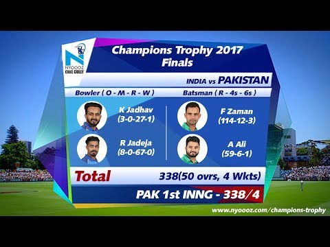 Live India vs Pakistan score card final ICC Champions Trophy on Cric Gully