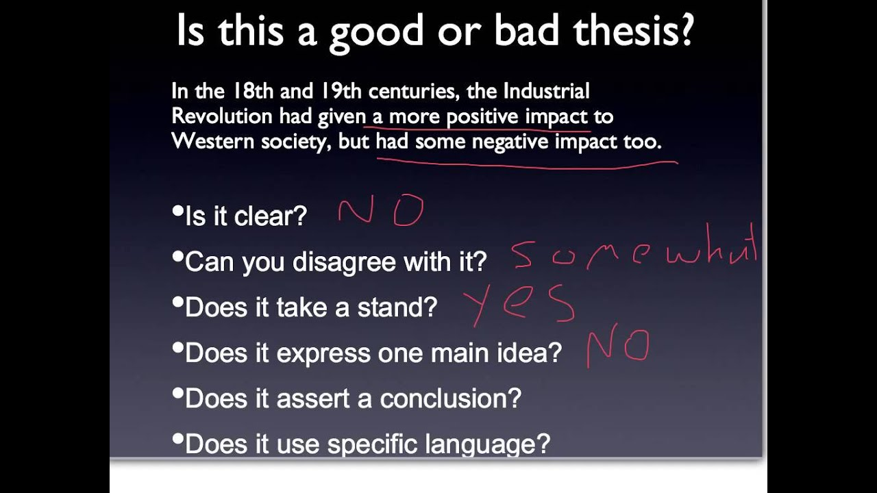 Good Or Bad Thesis 1 Youtube