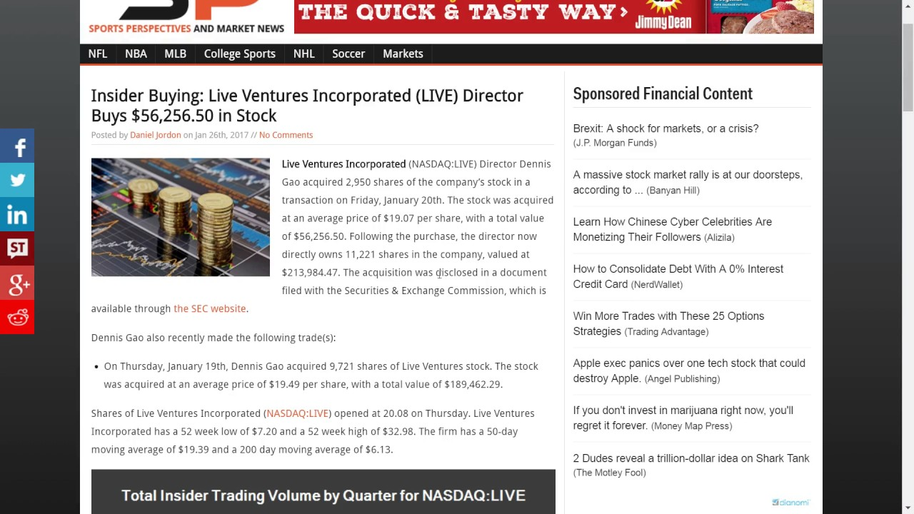 LIVE Stock News: Live Ventures Scalp, or Long term, Acquistions Stock Options, Securities Issues