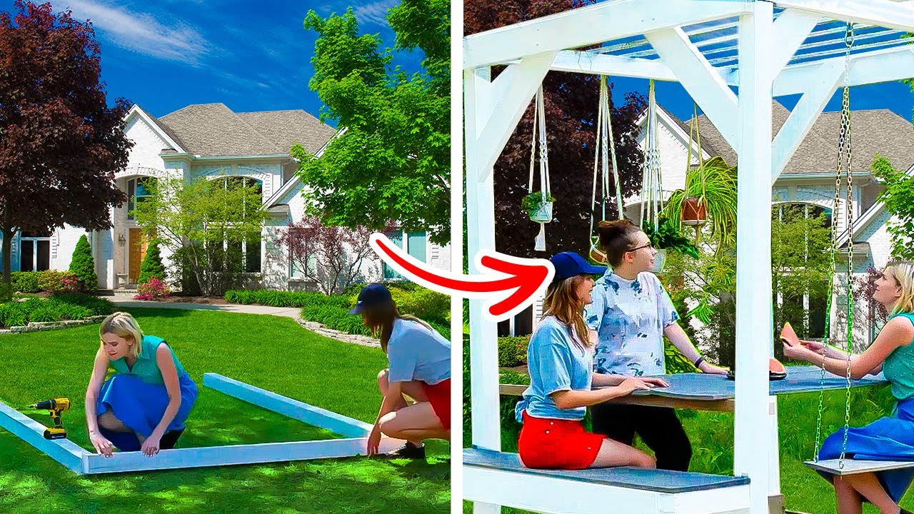 AMAZING CRAFTS YOU CAN MAKE WITH YOUR HANDS    DIY Wooden Pergola, Aquarium, And Mini Flower Shop!